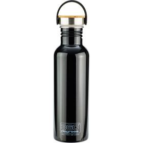 360° degrees Stainless Drikkeflaske med bambuskappe 750ml, sort